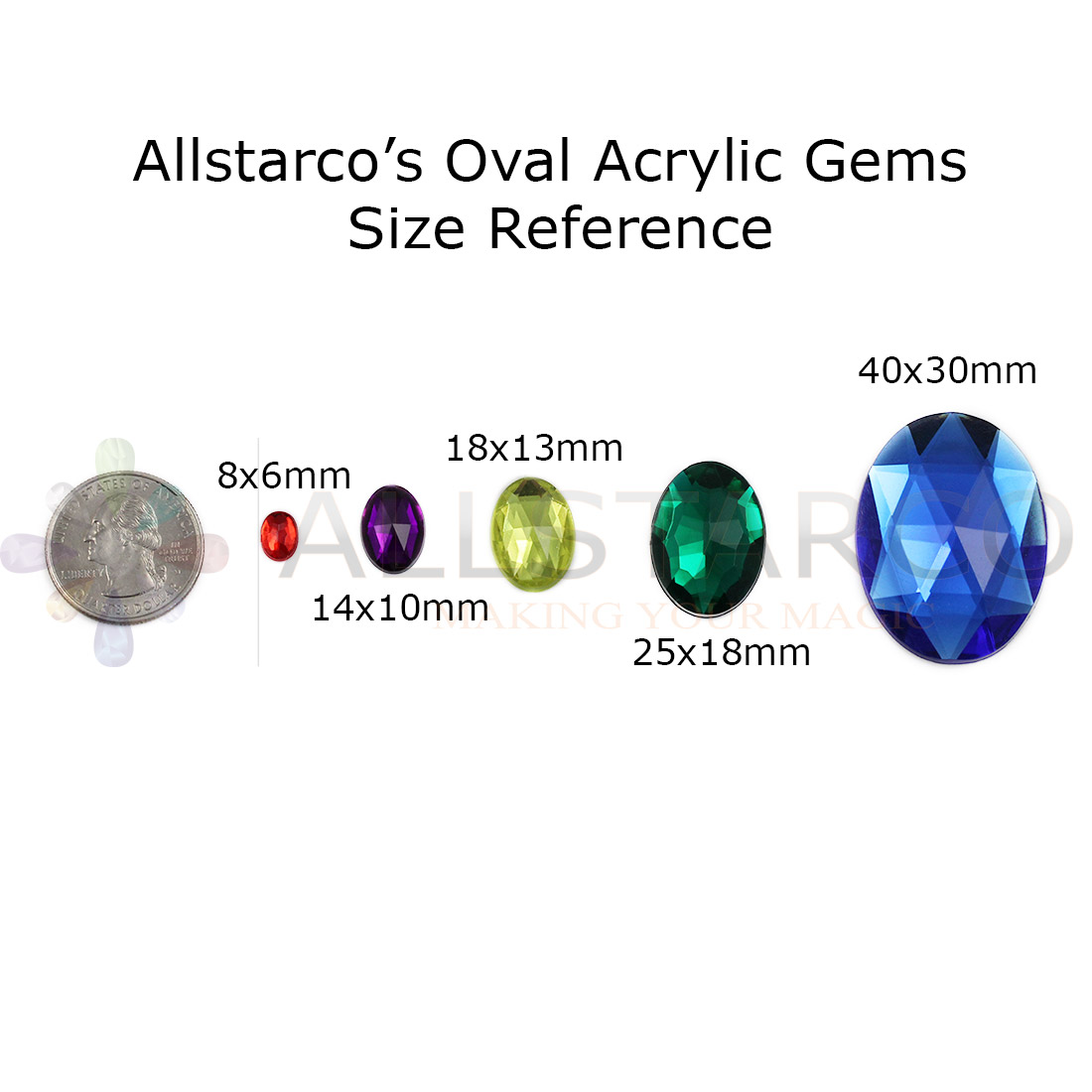 acrylic rhinestones size reference on a hand with quarter coin 25 cents