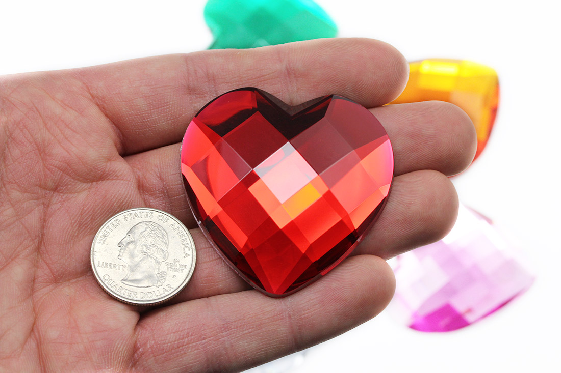 large heart acrylic red gems for cosplay