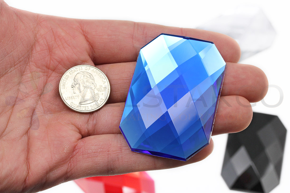blue octagon flat back large gems