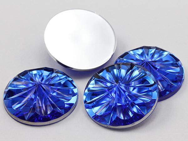 Blue Flat Back Round acrylic Gems