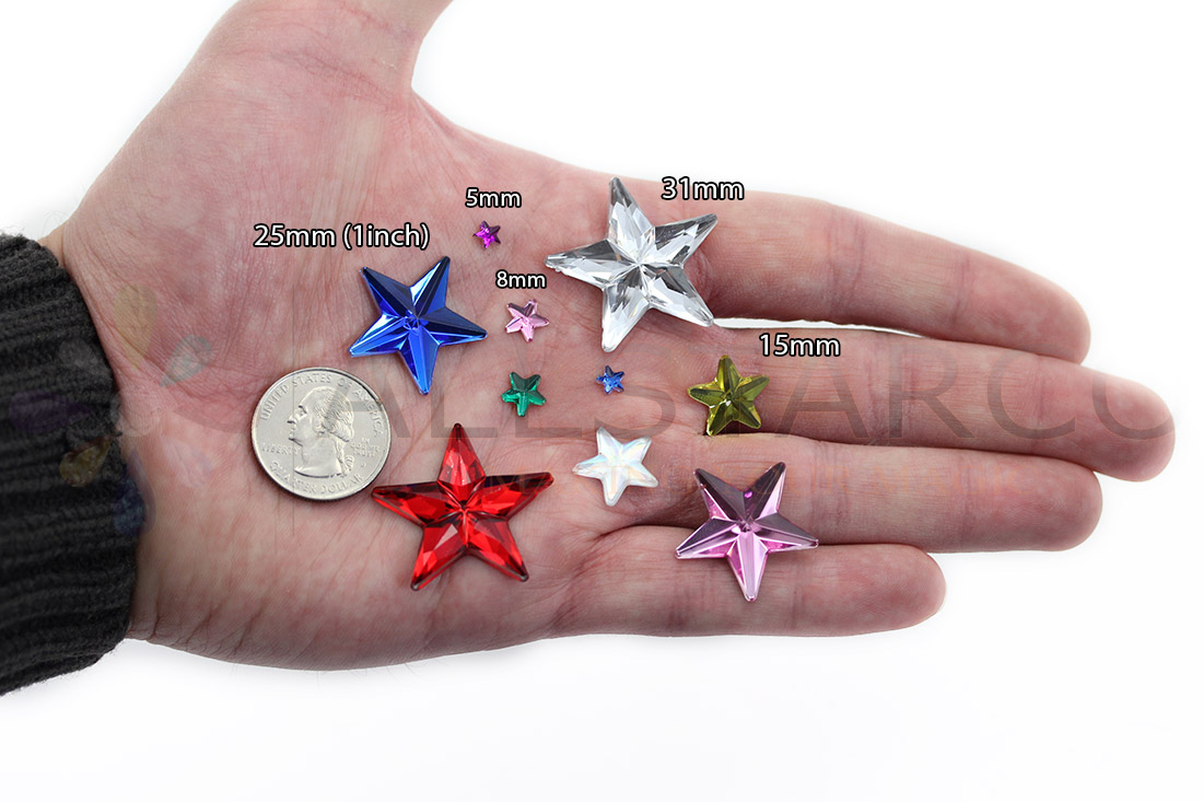 allstarco star acrylic gems on hand next to 25 cent quarter cosplay gems rhinestones