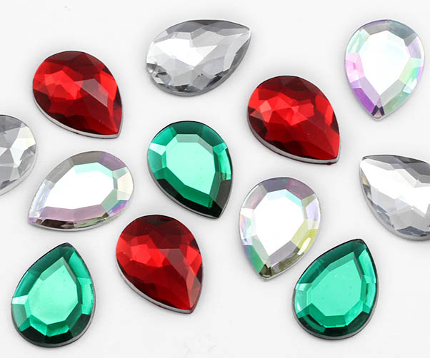 teardrop acrylic flat back rhinestones gems for cosplay